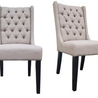 Landon Side Chair With Tufts Cappuccino Set of 2
