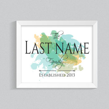 Home Name Printable Quote, Wall Art, Watercolor Splash, Surname Sign, Family Name Poster, Digital Download, Green Summer Colours