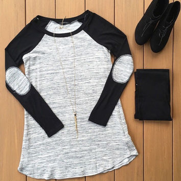 Grey and Black Elbow Patch Tunic