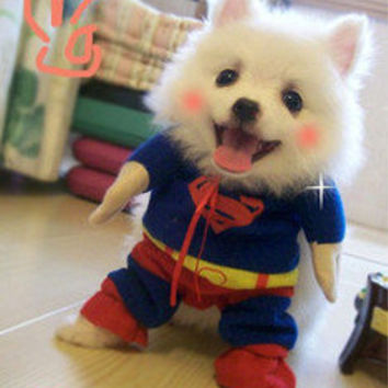 Pet Dog Clothes Costumes Superman Suit size XS/S/M/L/XL