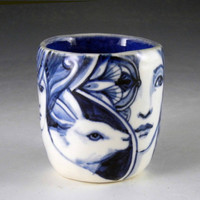 Blue and white OOAK porcelain hand painted cup with rabbit, bird, faces