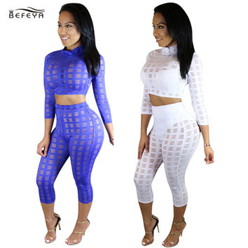 2016 Jumpsuits Women Rompers Bandage Turtleneck Crossover Hollow Jumpsuit Women Two Pieces Solid White Playsuit Drop Shipping