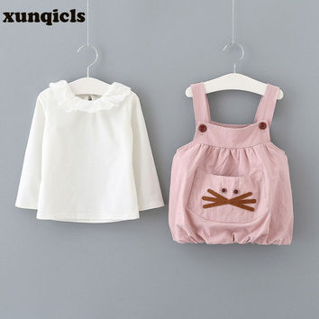 xunqicls 2PC Baby Girls T-shirts +Overalls Dress Suit Spring Kids Girl Long Sleeved Clothing with Big Pocket