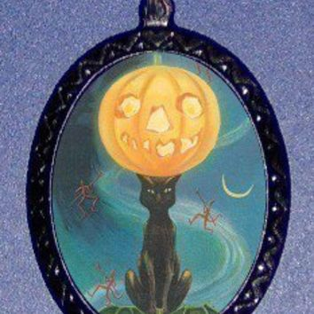 Classic Halloween Cat with Moon Retro vintage design DIY handmade pendant necklace rockabilly horror cool SHS