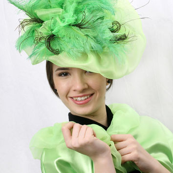 Light Spring green Royal ascot Fascinator, Kentucky derby hat, Wedding head piece green fethers and organza with ground brown feathers