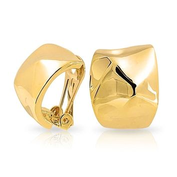 Geometric Hammered Dome Half Hoop Clip On Earrings 14K Gold Plated