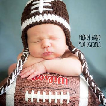 Football Boy's Crochet Beanie Hat with braids Crochet Football Hat Sport Hat Baby Boy Baby Girl Football Hat