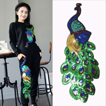 1pcs Colorful Sequin Peacock Embroidery Fabric Large Applique Patch African Lace Sew Dress Cloth Decorate Accessory Diy