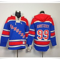 Hoodies Jerseys  ICE Hockey Rangers #99 Gretzky 11 Messier 61 Nash Blue Best quality stitching Jerseys Sports jersey