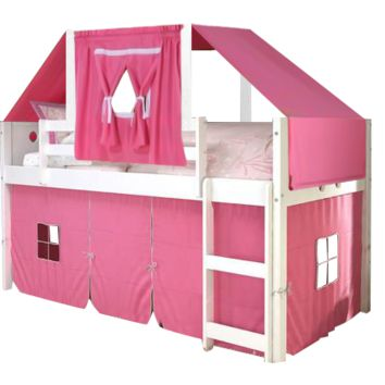 Aria White Loft Bed with Pink Fort and Tent