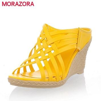 Gladiator high heels wedges sandals comfortable lady shoes