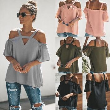 Sexy Women's Cold Shoulder Short Sleeve Pullover Tee Tops Shirt Women Solid Off Shoulders Top T-shirts Clothing