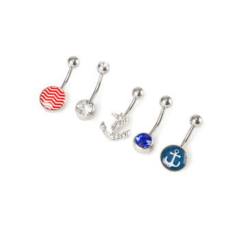 14G Nautical Belly Ring Set of 5