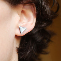 FREE WORLDWIDE SHIPPING - Geometric Triangle Silver Gray Stud Earrings