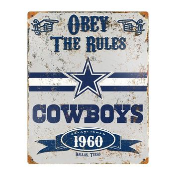 Dallas Cowboys Obey the Rules 14x11 Vintage Steel Pub Sign