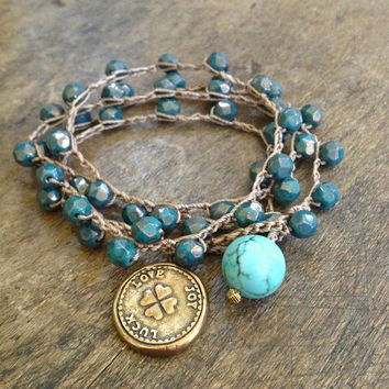"Love, Joy, Luck - Clover Turquoise Multi Wrap Knotted Bracelet, Necklace ""Beach Chic"""
