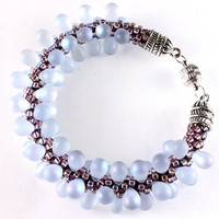 Frosted Alexandrite Kumihimo Bracelet, June Birthday, Seed Beads, Czech Teardrops