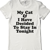 White T-Shirt | Funny Cat Lazy Shirts