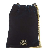 Ralph Lauren Embroidered Velvet Chain Pouch Bag, Prussian Blue