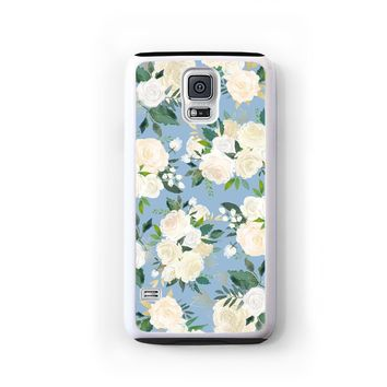 Rose gold leaf cluster pattern on light blue for Galaxy S5 cd6166a0078e