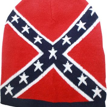 Navy Blue Confederate Flag Thick Knit Cold Weather Beanie Hat