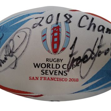 2018 New Zealand All-Blacks Rugby National Union Team Autographed Rugby World Cup Sevens Logo Ball, Proof