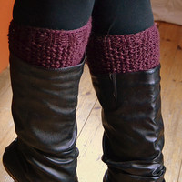 Burgundy knitted boot cuff, wool leg warmer, boot toppers, clothing accessories, women and teen clothing