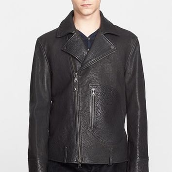 Men's John Varvatos Pebbled Leather Moto Jacket,