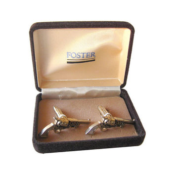 VALENTINE Silver Guns with Mother of Pearl Grips Cuff Links Boxed Set / Gift for Him / 1950s Mens Fashion / Mens Jewelry