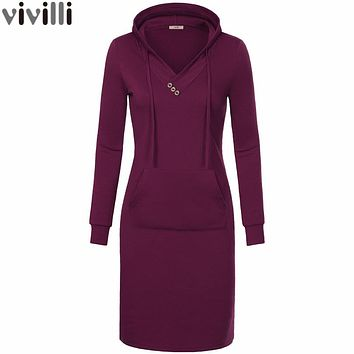 Women Long Sleeve Sweatshirt Hooded Dress Keen Length Big Pocket Bodycon Casual Dress Red Thickening Women Dress