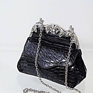 Fancy Croc Embossed Leather Shoulder Bag Glen Miller For Ann Turk Black Silver Hardware Vintage USA