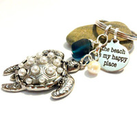 The Beach is My Happy Place Keychain, Pearl Sea Turtle Keychain, Coastal Keychain, Nautical Accessory, Sea Glass Key Ring, Classy Gift