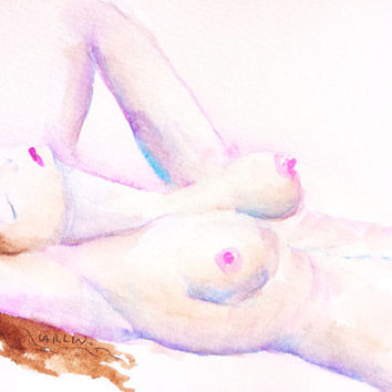 Nude Woman, Gesture sketch, 5x7, Original Watercolor, reclining, frontal nudity,naked female, figurative painting, contemporary