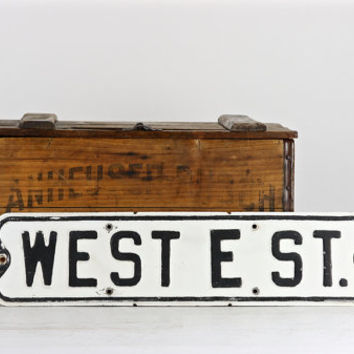 Old Street Sign, Vintage Street Sign, Metal Street Sign, Sign, Traffic Sign, Black And White Street Sign, Industrial Decor, Rustic Decor