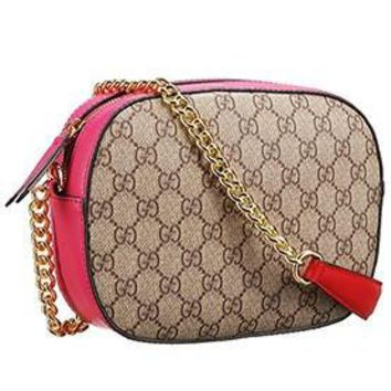 Gucci Supreme Canvas Mini Chain Bag Red & Fuchsia