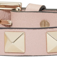 Pink Leather Rockstud Bracelet