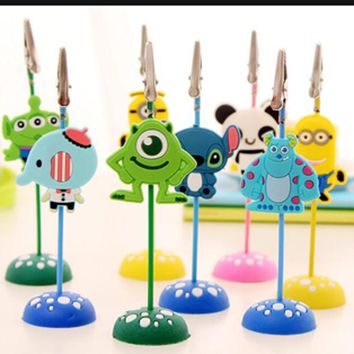 New 6Pcs/Lot Cute Cartoon Stand Desk Card Note Picture Memo Photo Clip Holder Table Wedding Party Place Favor Gift Kid Prize