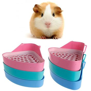 1PC Small Pet Cat Rabbit Animal Toilet Potty Bowl Corner Clean Litter Trays Useful Training