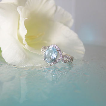 Aquamarine Engagement Ring, Promise Ring, Aquamarine Ring, Sterling Silver, Custom Made Jewelry, Gift for Her, Anniversary Gift