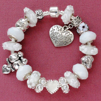 European charm bracelet with charms Happy Anniversary white beads heart lovebirds love charms gift for her large hole beads