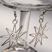Gift for her for women sun star jewelry earrings silver plated filled filigre wire wrapped