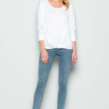 Twist Front Knit Top (Multiple Colors Available)