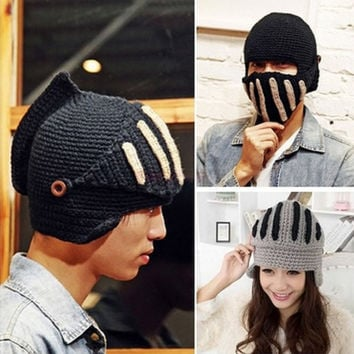 Men Women Boy Buttons Crochet Knit Ski Beanie Wool Roman Knight Hat Masks Cap  Apparel & Accessories = 1706162052