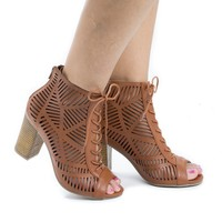Jamie31 Natural Pu By Aquapillar, Peep Toe Lace Up Cut Out Stacked Heel Sandals