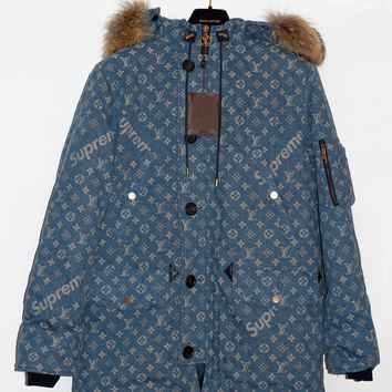 One-nice™ Louis Vuitton x SUPREME BLUE Camo Denim Monogram Logo Fur Parka 52 Large L XL