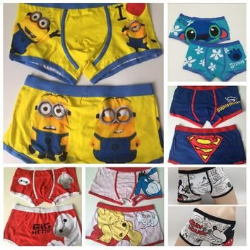 2017 New Sexy High quality 100% cotton cartoon men's Boxer men underwear the Lilo & Stitch
