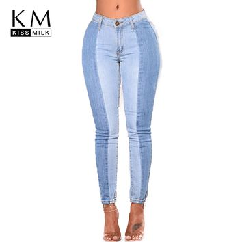 kissmilk 2018 Solid Blue Women Jeans Patchwork High Waist Bleached Zipper Fly Female Clothing Casual Skinny Lady Pencil Pants