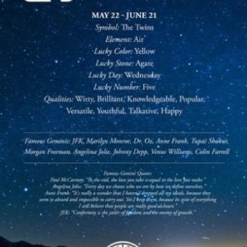 Gemini Description Astrology Poster 24X36 QUALITIES FAMOUS PEOPLE QUOTES NEW