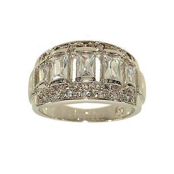 Silvertone Fashion Cocktail Ring with Graduated Emerald Cut Clear Cubic Zirconia