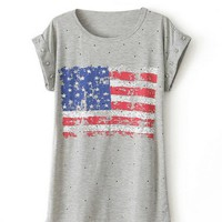 US Flag Star Studed T-shirt